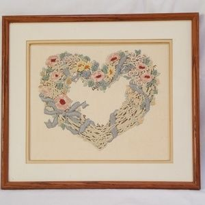 Hand Made Heart Wreath 1992 Finished Needlework